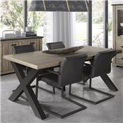 Table à manger contemporaine couleur bois et anthracite WALLAS