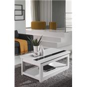 Table basse relevable blanc ou blanc et gris cendré contemporaine MOLLY
