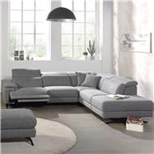 Canape d'angle relax en tissu gris PERUGIA