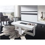 Table basse relevable blanc laqué design JOSY