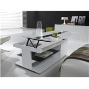 Table basse relevable blanc laqué design ELSYE