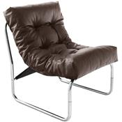 Fauteuil de relaxation marron design PU et chrome CELLUS4