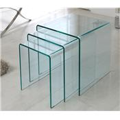 Table basse gigogne en verre blanc ou transparent LIGHT (jeux de 3)