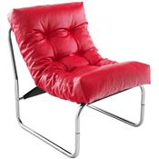 Fauteuil de relaxation rouge design PU et chrome CELLUS2