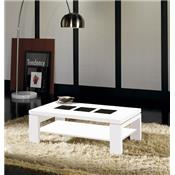 Table basse blanc brillant et verre noir contemporaine EMELIA