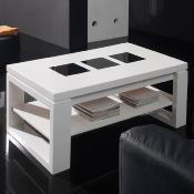 Table de salon relevable 110 cm blanc laqué design CANDELA